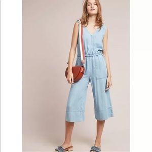 Anthropologie Splendid Cropped Chambray Jumpsuit